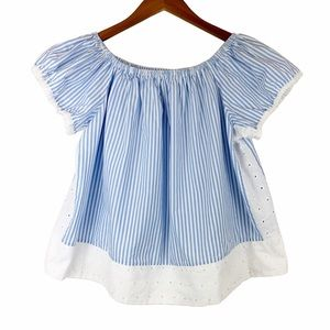 No Comment 🌵 Blue White Striped Eyelet Top M